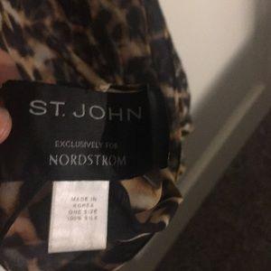 St John leopard print silk scarf